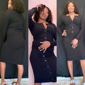 Black Fall Midi Dress